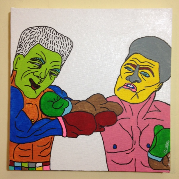 Round 8 Knockout- Tribute to Tomoyuki Shinki Linda Cleary 2014 Acrylic, Pen & Ink on Canvas
