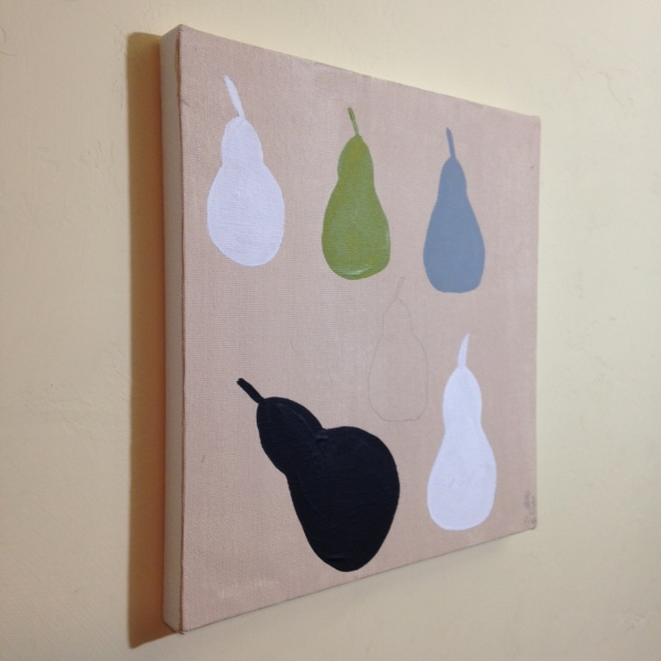 Side-View Pears with Green Note- Tribute to William Scott Linda Cleary 2014 Acrylic on Canvas
