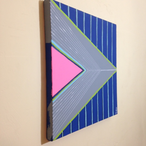 Side-View Montagne Gris- Tribute to Frank Stella Linda Cleary 2014 Acrylic on Canvas