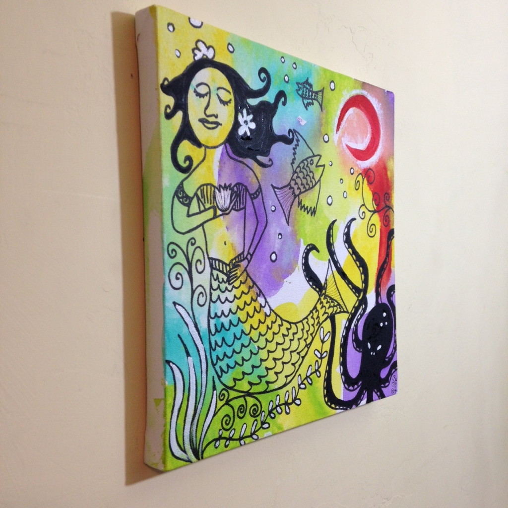 Side-View Sirena Luna Roja- Tribute to Clara Ledesma Linda Cleary 2014 Acrylic, Pen & Ink on Canvas