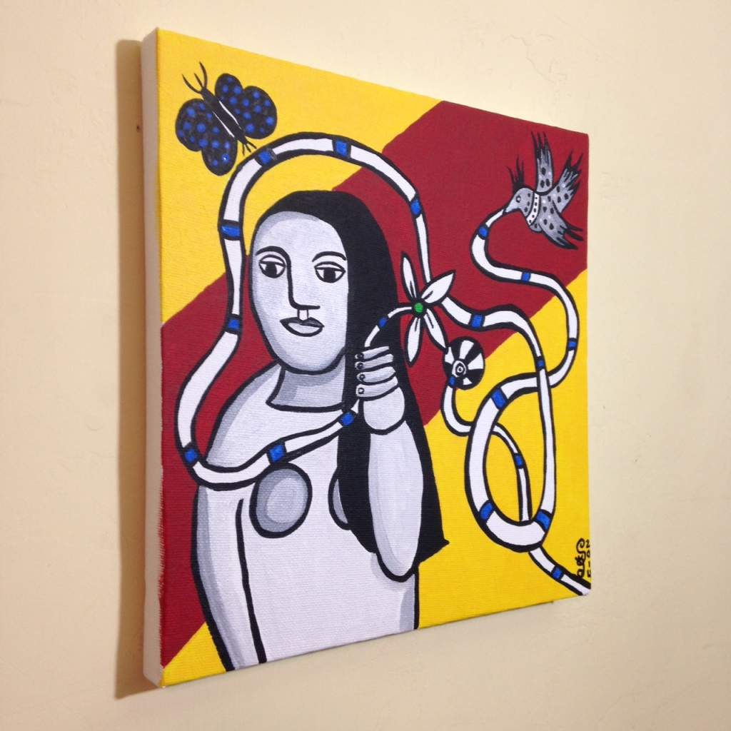 Side-View Femme Dans La Nature- Tribute to Fernand Leger Linda Cleary 2014 Acrylic on Canvas