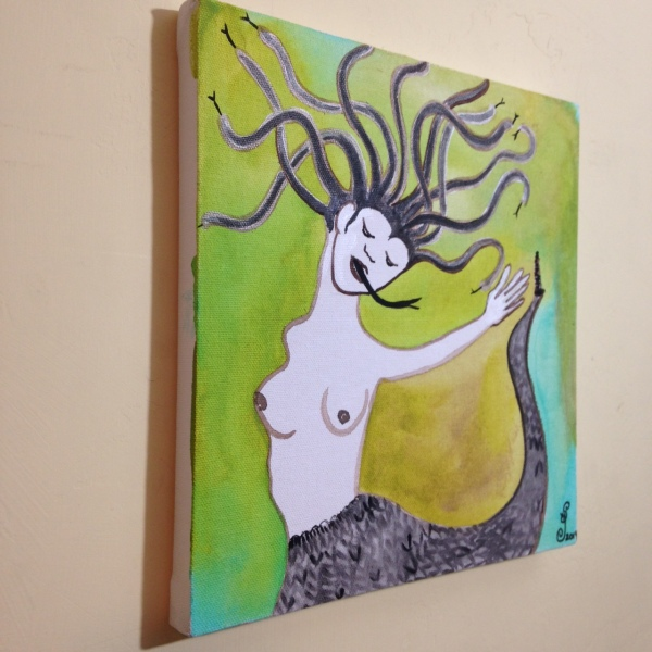 Side-View Medusa- Tribute to Leonor Fini Linda Cleary 2014 Acrylic on Canvas