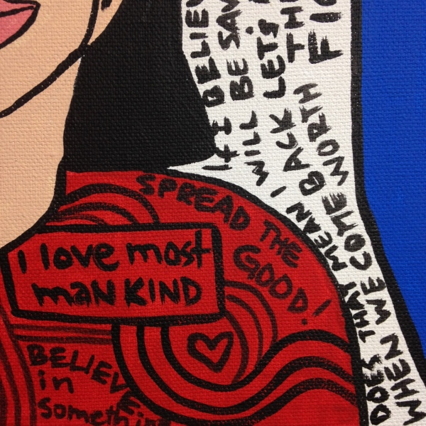 Close-Up 3 So Say I- Tribute to Howard Finster Linda Cleary 2014 Acrylic on Canvas