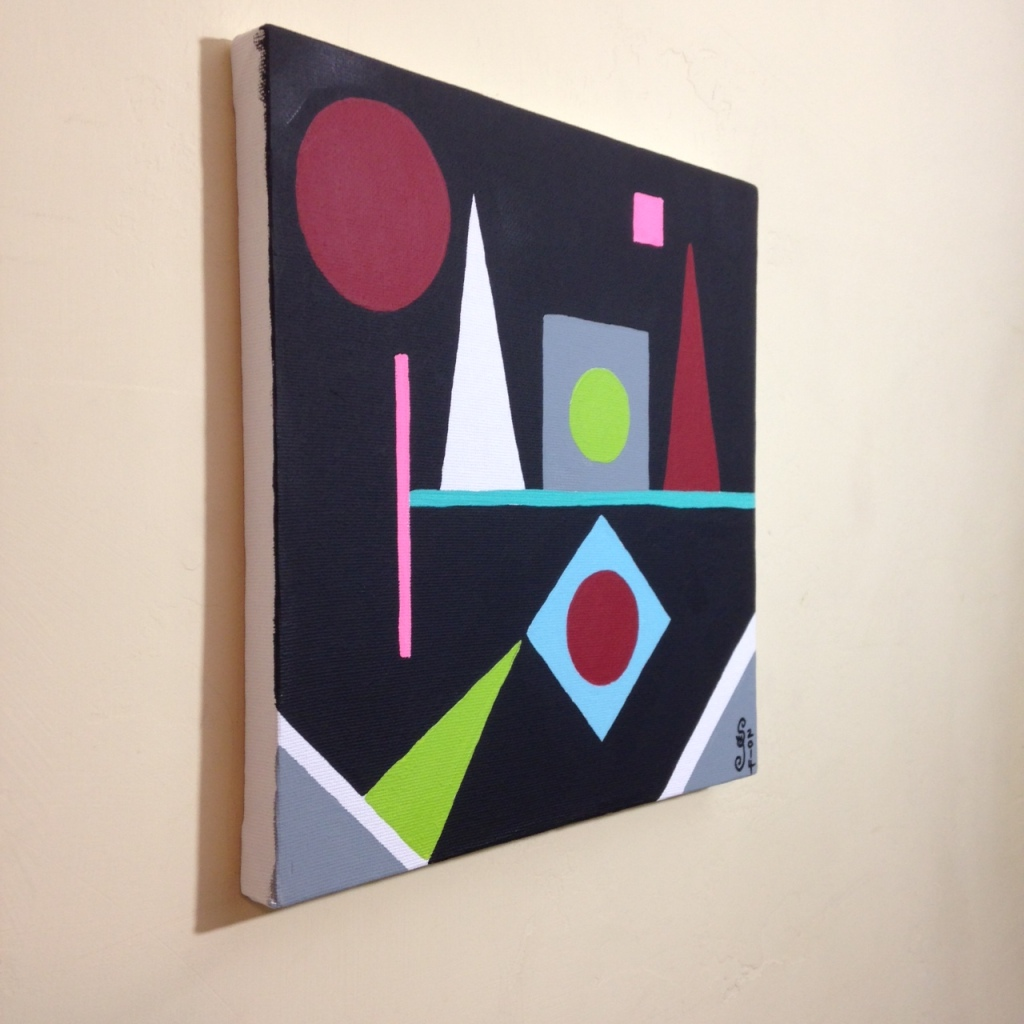 Side-View Lundi- Tribute to Auguste Herbin Linda Cleary 2014 Acrylic on Canvas