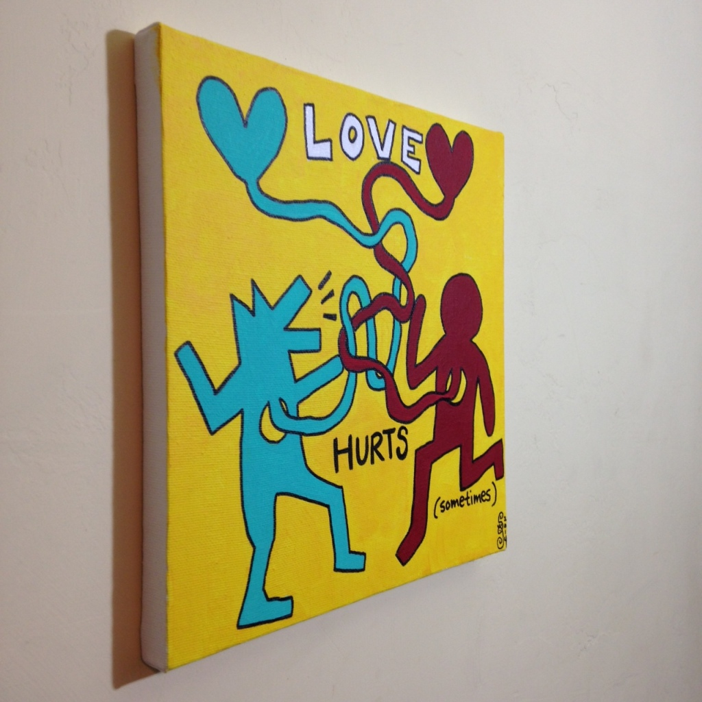 Side-View Love Hurts (Sometimes)- Tribute to Keith Haring Linda Cleary 2014 Acrylic on Canvas