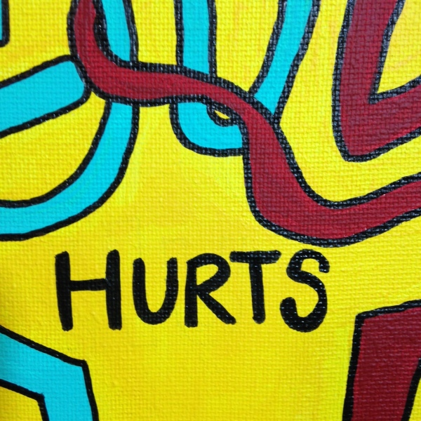 Close-Up 3 Love Hurts (Sometimes)- Tribute to Keith Haring Linda Cleary 2014 Acrylic on Canvas