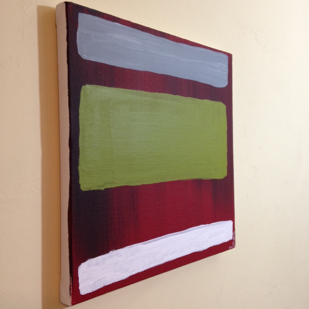 Side-View Red, black, gray, olive and white- Tribute to Mark Rothko Linda Cleary 2014 Acrylic on Canvas