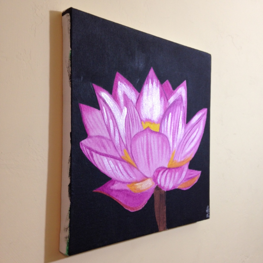 Side-View Pink Lotus- Tribute to Georgia O'Keeffe Linda Cleary 2014 Acrylic on Canvas