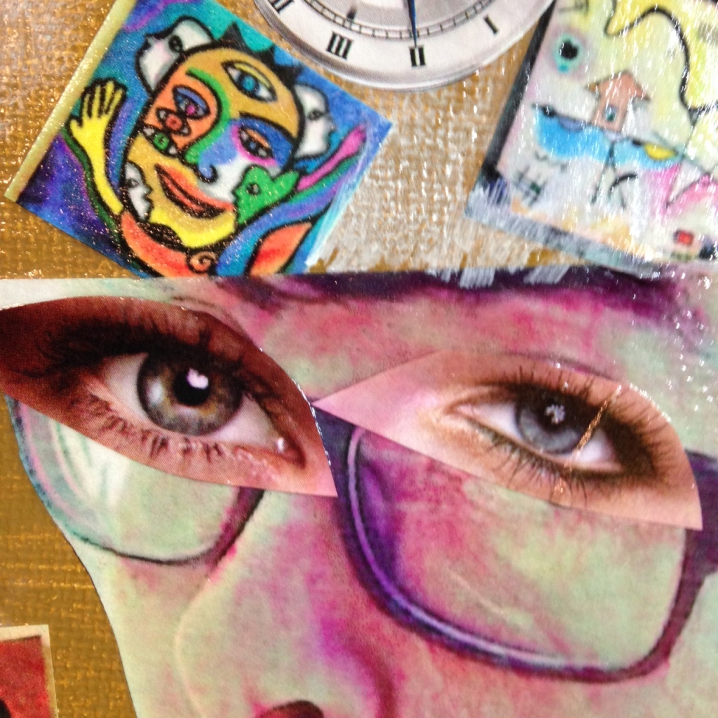 Close-Up 5 Day 100- Tribute to Raoul Hausmann Linda Cleary 2014 Mixed-Media on canvas