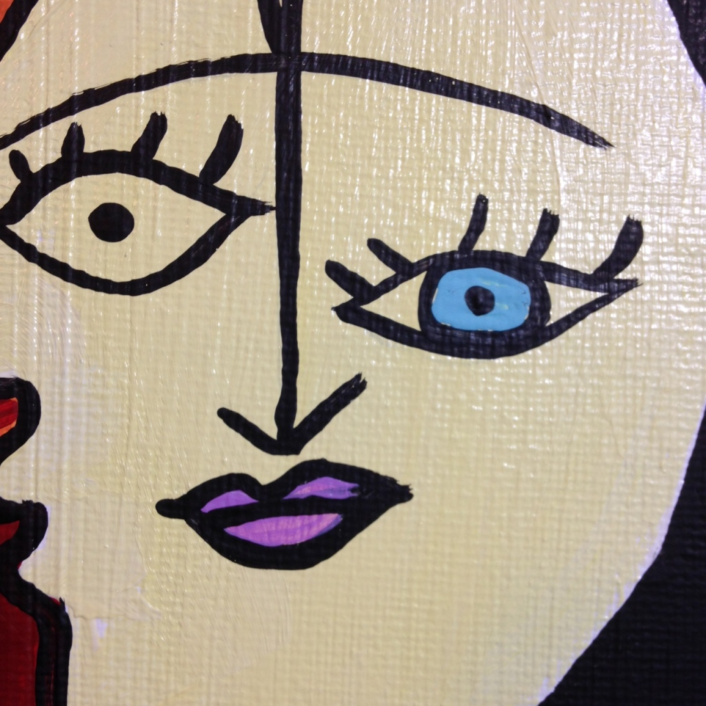 Close-Up 1 Woman on A Red Chair- Tribute to Pablo Picasso Linda Cleary 2014 Acrylic on Canvas