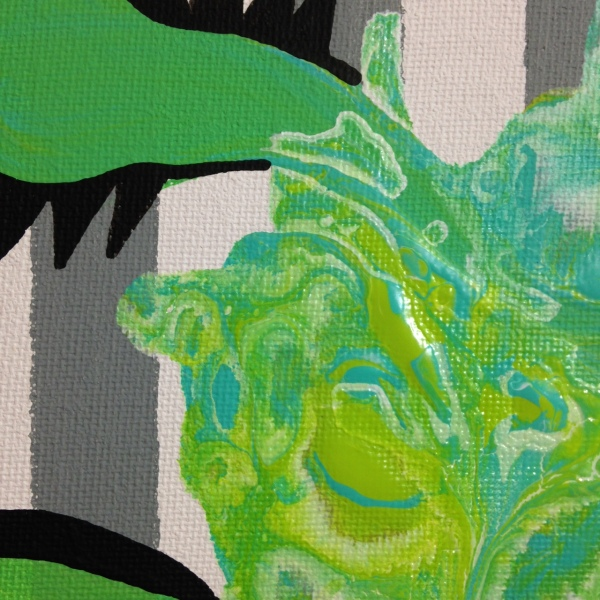 Close-Up 1 Green Therapy- Tribute to Charline von Heyl Linda Cleary 2014 Acrylic on Canvas