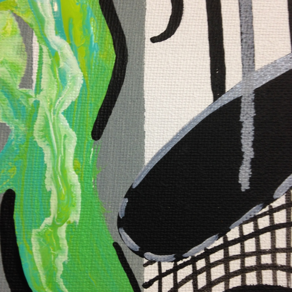 Close-Up 4 Green Therapy- Tribute to Charline von Heyl Linda Cleary 2014 Acrylic on Canvas