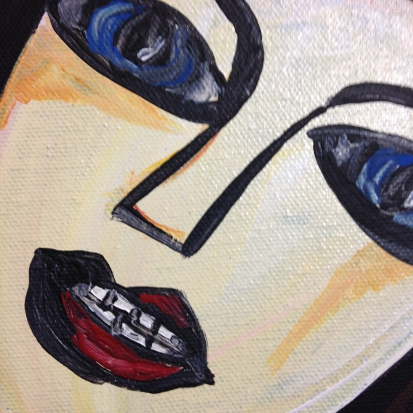 Close-Up 1 Look into the Flames- Tribute to Georges Rouault Linda Cleary 2014 Acrylic on Canvas
