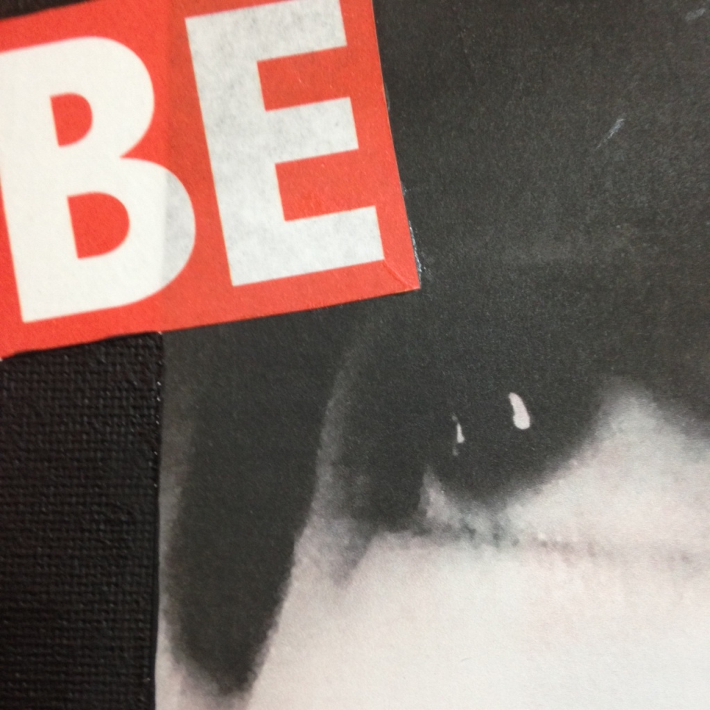 Close-Up 1 Be Okay with not Being Okay- Tribute to Barbara Kruger Linda Cleary 2014 Paper, Ink, Glue, Acrylic on Canvas