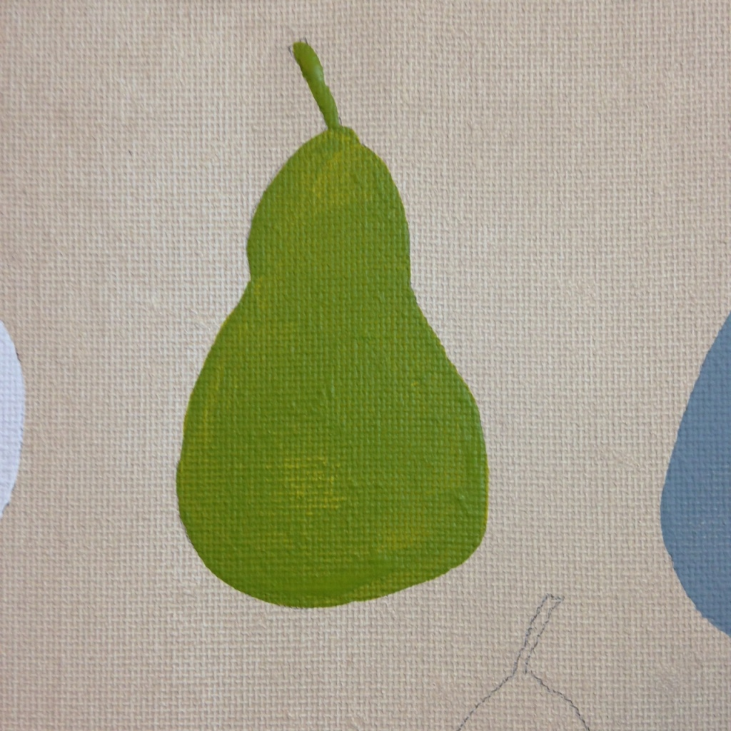 Close-Up 1 Pears with Green Note- Tribute to William Scott Linda Cleary 2014 Acrylic on Canvas