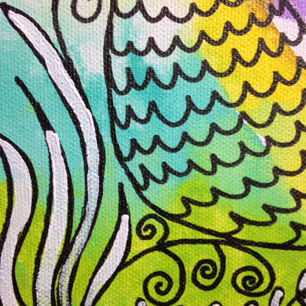 Close-Up 3 Sirena Luna Roja- Tribute to Clara Ledesma Linda Cleary 2014 Acrylic, Pen & Ink on Canvas