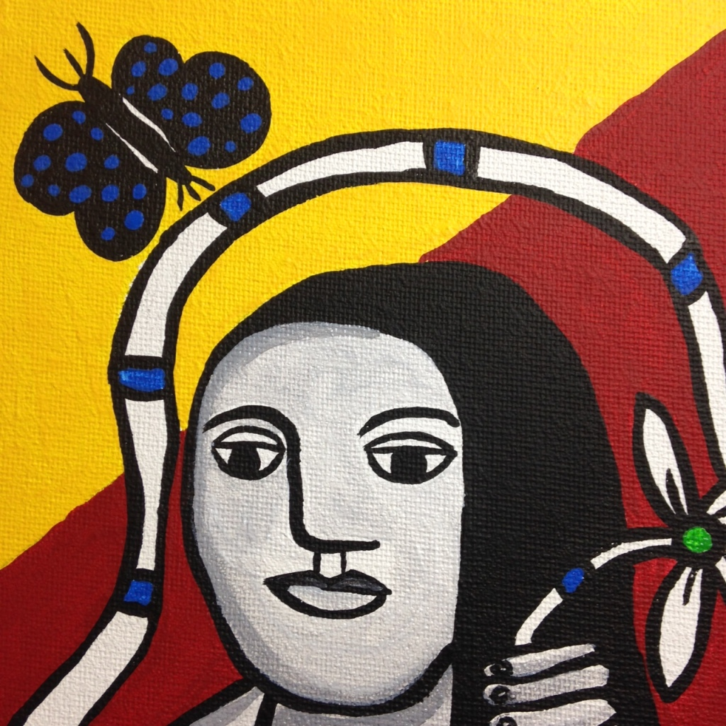 Close-Up 1 Femme Dans La Nature- Tribute to Fernand Leger Linda Cleary 2014 Acrylic on Canvas