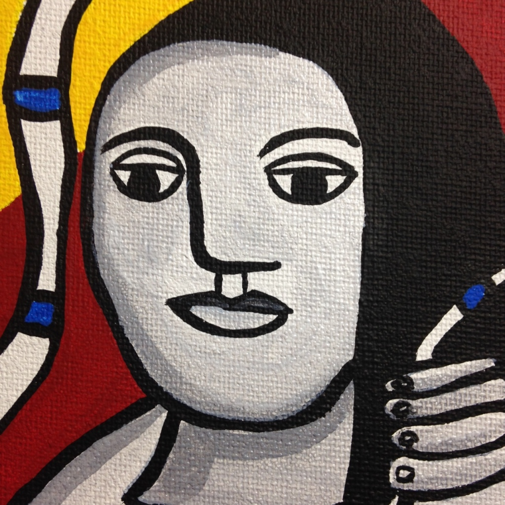 Close-Up 4 Femme Dans La Nature- Tribute to Fernand Leger Linda Cleary 2014 Acrylic on Canvas