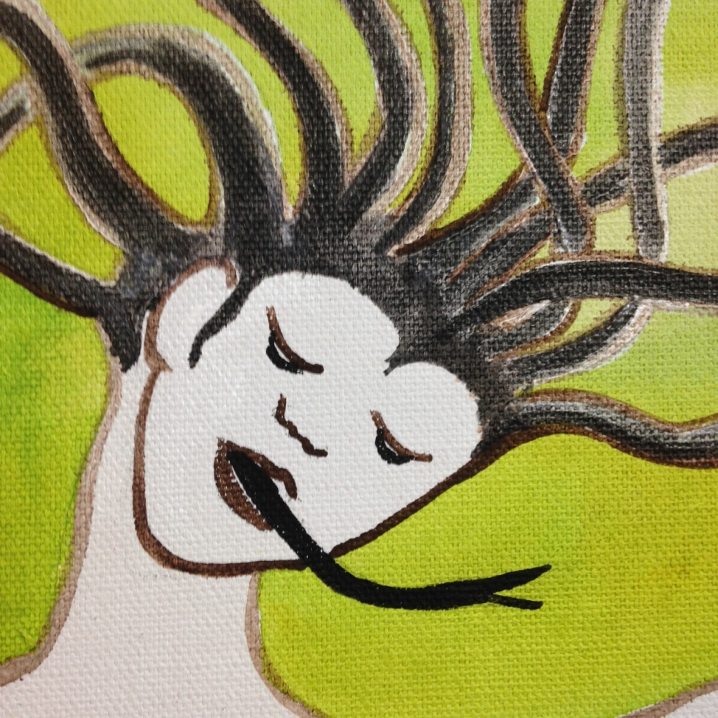 Close-Up 1 Medusa- Tribute to Leonor Fini Linda Cleary 2014 Acrylic on Canvas