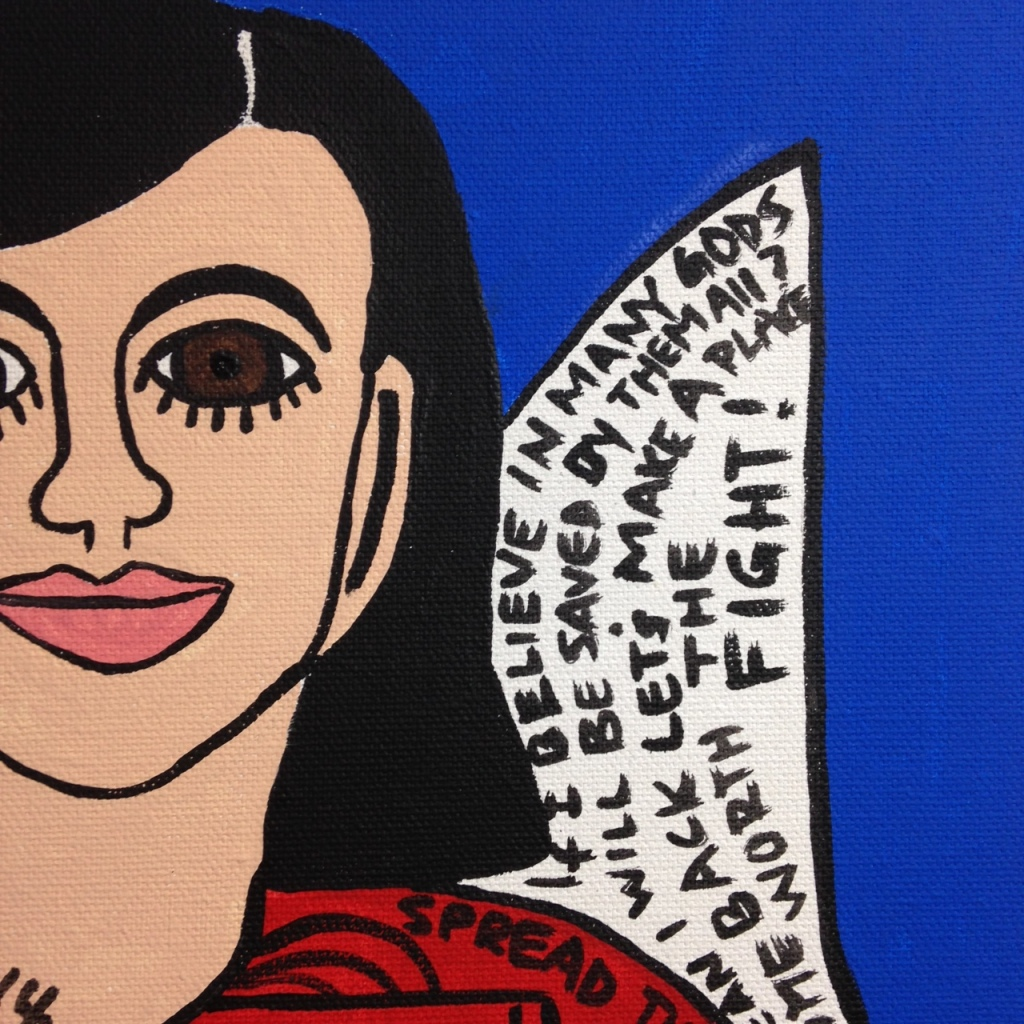 Close-Up 4 So Say I- Tribute to Howard Finster Linda Cleary 2014 Acrylic on Canvas