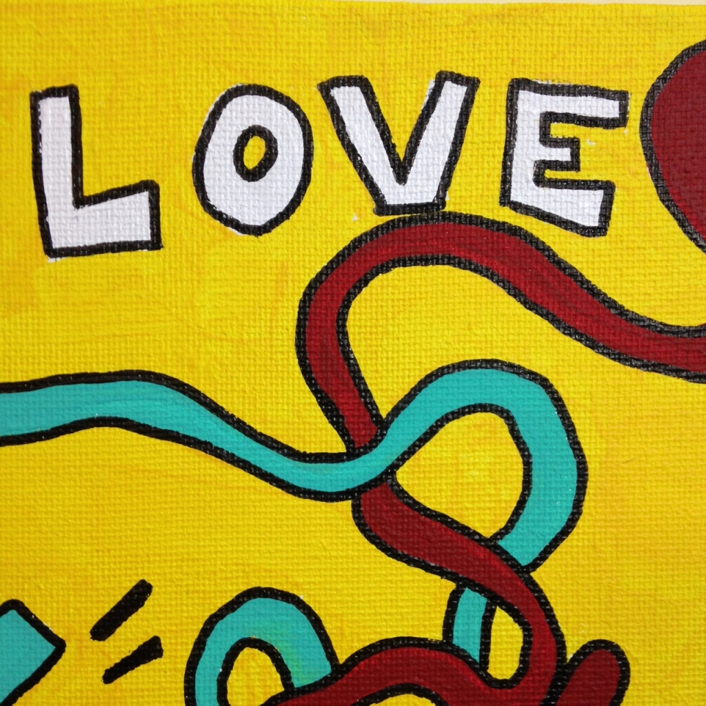 Close-Up 1 Love Hurts (Sometimes)- Tribute to Keith Haring Linda Cleary 2014 Acrylic on Canvas