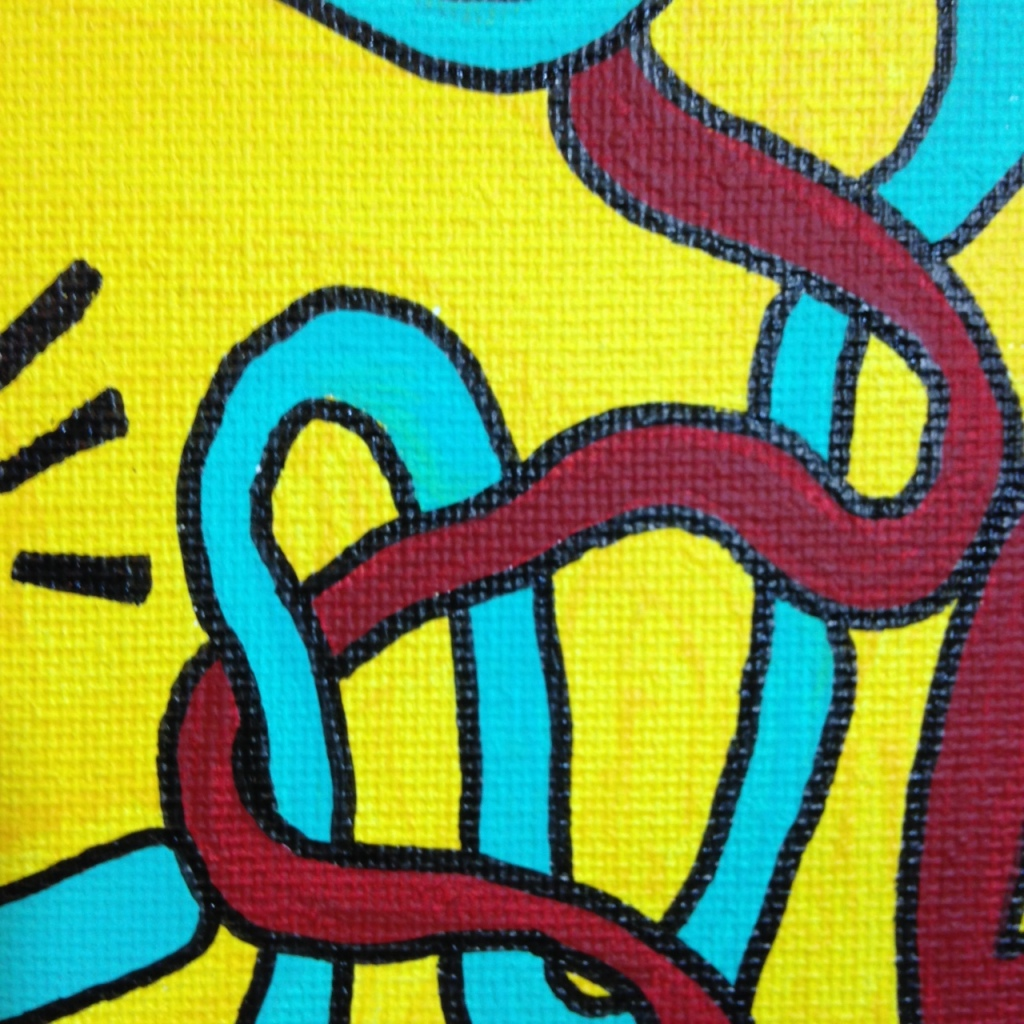 Close-Up 4 Love Hurts (Sometimes)- Tribute to Keith Haring Linda Cleary 2014 Acrylic on Canvas