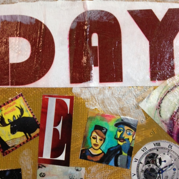 Close-Up 2 Day 100- Tribute to Raoul Hausmann Linda Cleary 2014 Mixed-Media on canvas