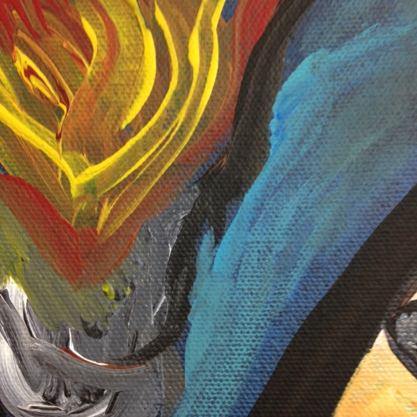 Close-Up 2 Look into the Flames- Tribute to Georges Rouault Linda Cleary 2014 Acrylic on Canvas