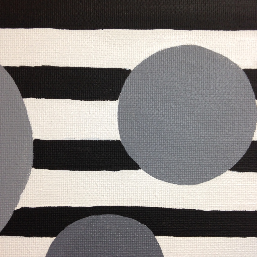 Close-Up 3 Gray Areas- Tribute to Bridget Riley Linda Cleary 2014 Acrylic on Canvas