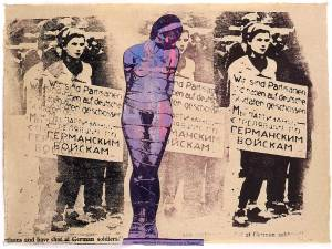 "Nancy Spero. ""Masha Bruskina / Gestapo Victim,"" 1994. Handprinting and printed collage on paper"