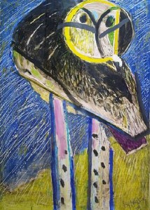 Owl with Purple Legs- Irving Kriesberg