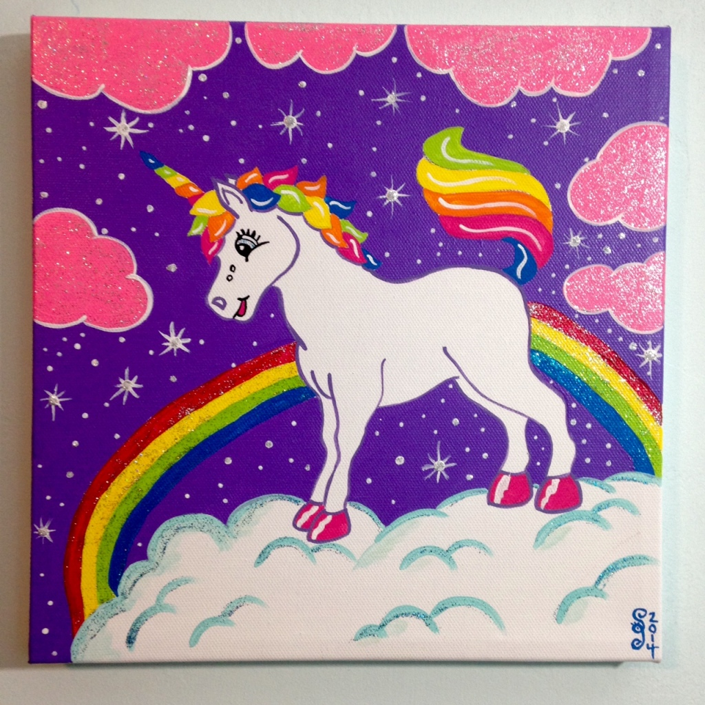Unicorn in the Sky- Tribute to Lisa Frank Linda Cleary 2014 Acrylic on Canvas