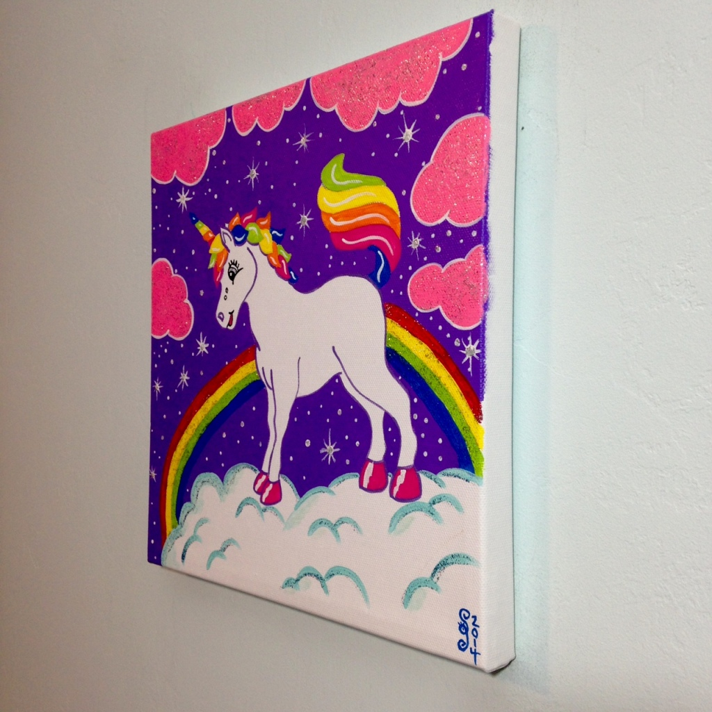Side-View Unicorn in the Sky- Tribute to Lisa Frank Linda Cleary 2014 Acrylic on Canvas