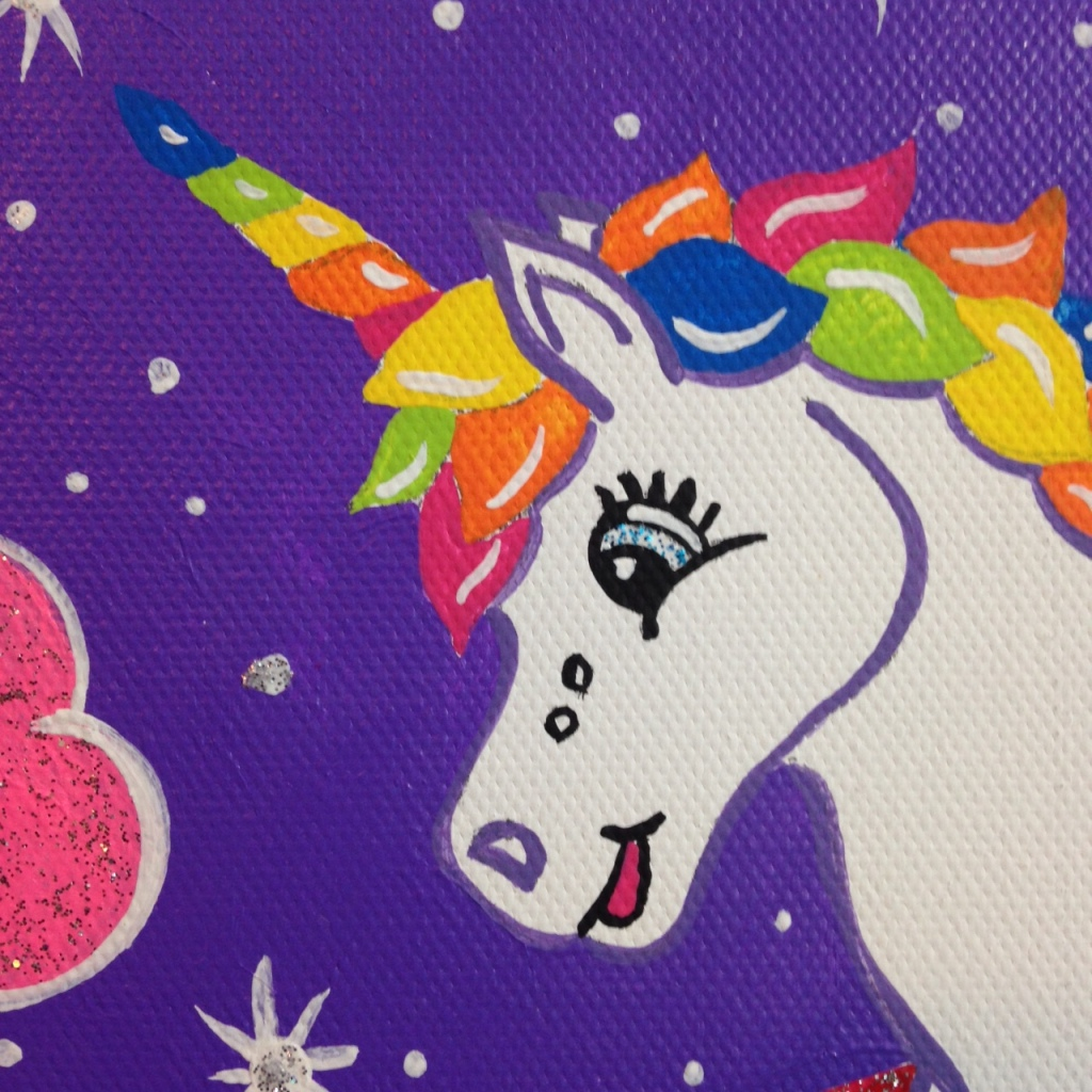 Close-Up 1 Unicorn in the Sky- Tribute to Lisa Frank Linda Cleary 2014 Acrylic on Canvas