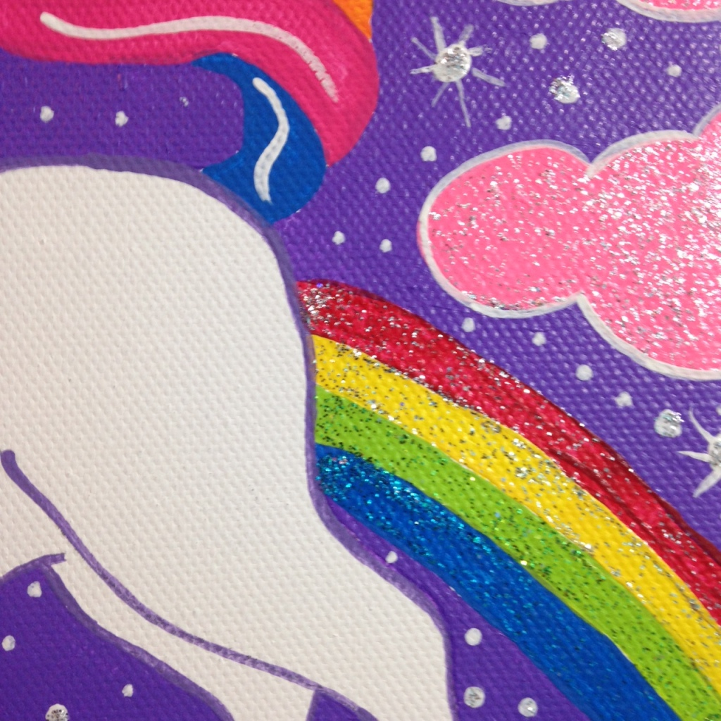 Close-Up 3 Unicorn in the Sky- Tribute to Lisa Frank Linda Cleary 2014 Acrylic on Canvas