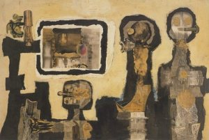 John McHale, First Contact, collage on canvas, 1958. Albright-Knox Art Gallery, Buffalo