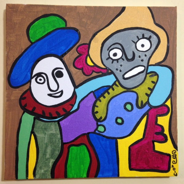 Soyons Amis- Tribute to Gaston Chaissac Linda Cleary 2014 Acrylic on Canvas