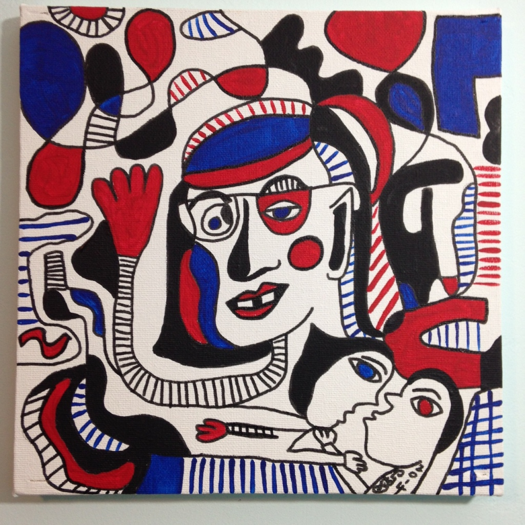 Memories of Something- Tribute to Jean Dubuffet Linda Cleary 2014 Pen, Ink & Acrylic on Canvas