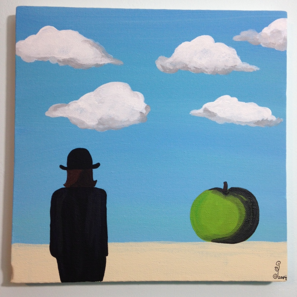 The Elusive Mystery- Tribute to Rene Magritte Linda Cleary 2014 Acrylic on Canvas