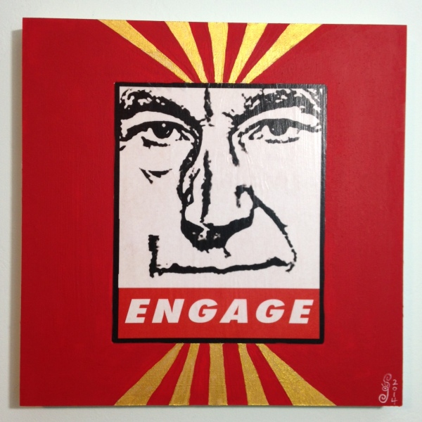 ENGAGE- Tribute to Shepard Fairey Linda Cleary 2014 Mixed Media/Acrylic on Wood Panel
