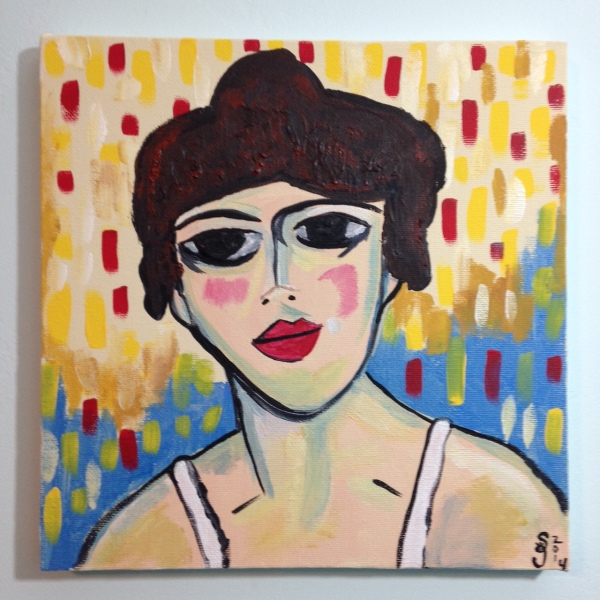 Portrait of a Woman- Tribute to Maurice de Vlaminck Linda Cleary 2014 Acrylic on Canvas