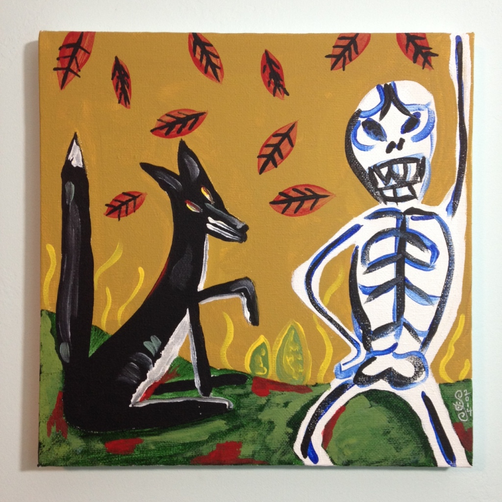 Fox and Skeleton- Tribute to Irving Kriesberg Linda Cleary 2014 Acrylic on Canvas
