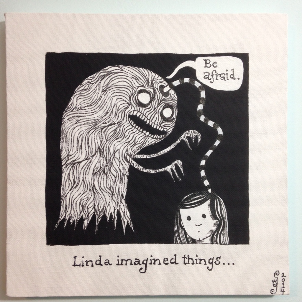 Linda Imagined Things…-Tribute to Edward Gorey Linda Cleary 2014 Acrylic/Pen&Ink on Canvas