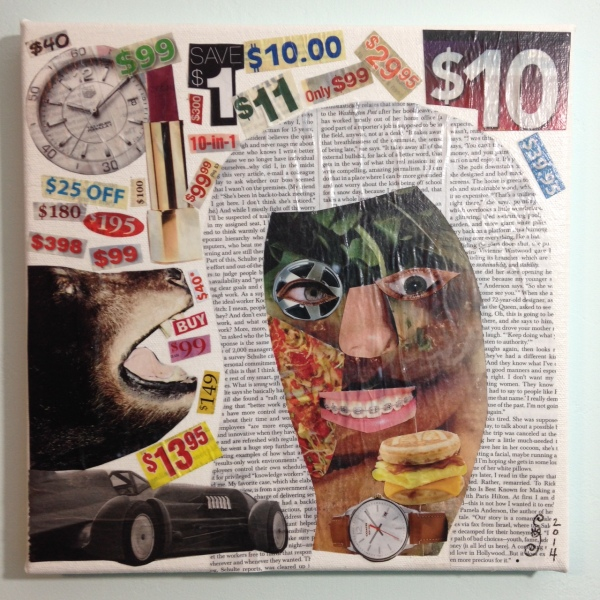 What A Deal!- Tribute to John McHale Linda Cleary 2014 Collage Mixed Media on Canvas