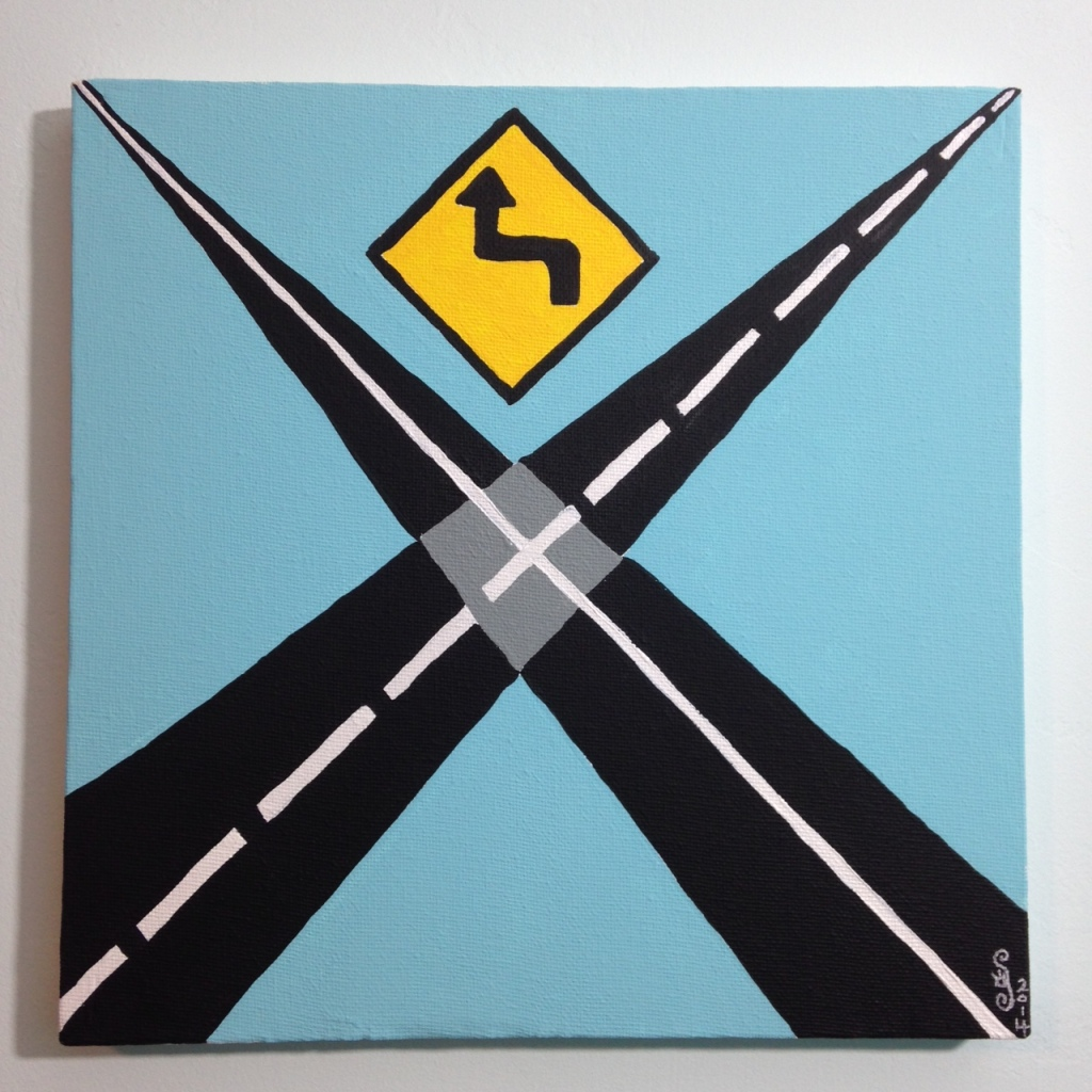Intersection- Tribute to Allan D'Arcangelo Linda Cleary 2014 Acrylic on Canvas