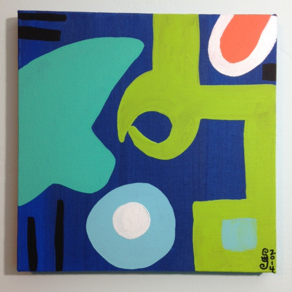 Different Blues, Lime, Orange, Black and White- Tribute to Patrick Heron Linda Cleary 2014 Acrylic on Canvas