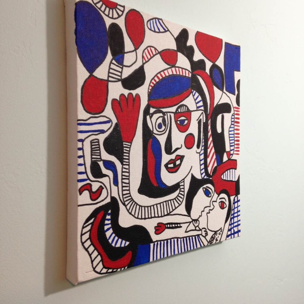 Side-View Memories of Something- Tribute to Jean Dubuffet Linda Cleary 2014 Pen, Ink & Acrylic on Canvas