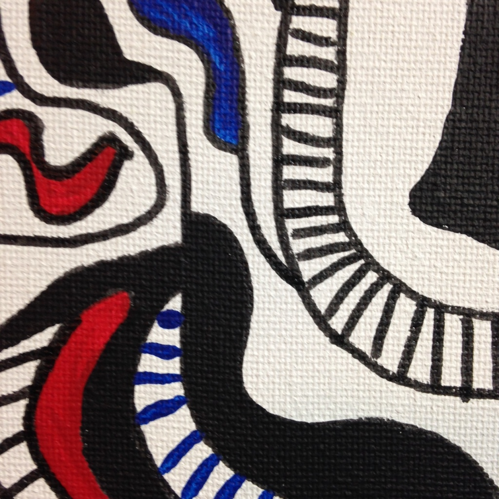 Close-Up 3 Memories of Something- Tribute to Jean Dubuffet Linda Cleary 2014 Pen, Ink & Acrylic on Canvas