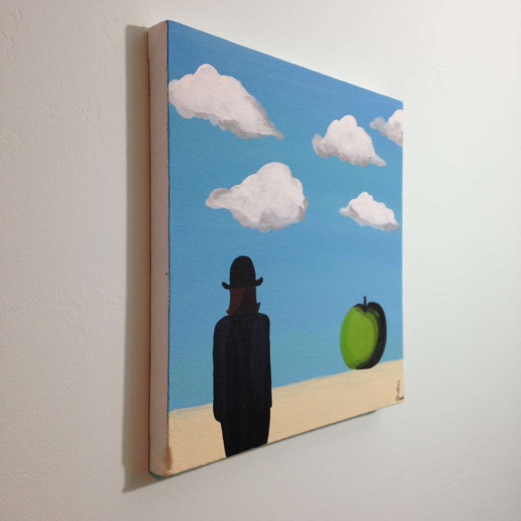 Side-View The Elusive Mystery- Tribute to Rene Magritte Linda Cleary 2014 Acrylic on Canvas