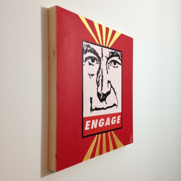 Side-View ENGAGE- Tribute to Shepard Fairey Linda Cleary 2014 Mixed Media/Acrylic on Wood Panel